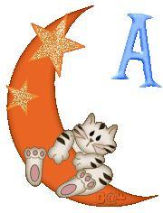 Alfabeto de gatito en la luna.