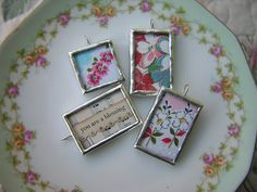charms from vintage hankies and fabric