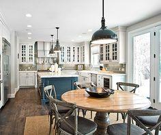 Restoration Hardware Benson Pendant, Restoration Hardware Harmon Pendant, white and gray kitchen, glass subway tile...