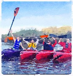Willapa Harbor paddler in watercolor. www.willapaharbor.org art by Jerry Gould