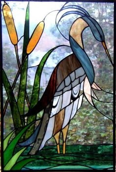 stained glass heron: