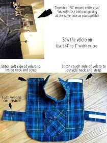 DIY Pet Coat Pattern – Sewing it Together! This is part 2 of our coat tutorial. To get your pattern pieces, visit our first tutorial on making the pattern here. Since we are recycling junkie… Dog Coat Pattern, Coat Pattern Sewing, Sewing Patterns, Pattern Drafting, Jacket Pattern, Small Dog Clothes, Puppy Clothes, Doll Clothes, Dog Clothes Patterns