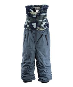 This Titanium & Blue Fuzzy Bib Pants - Girls is perfect! #zulilyfinds