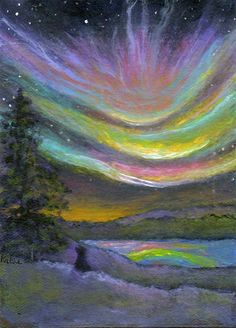 'Sky Lights over Lake' by Kathe Soave, ACEO cat art card