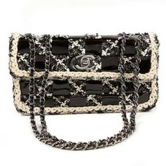 Authentic Chanel Black Tweed and Patent Leather Mini Classic