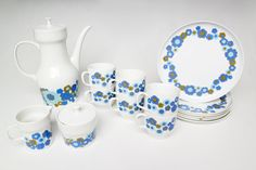 Vintage 1960s MELITTA 6 Person Floral Ceramic Service Set // 60s Retro German Entertaining White Tea Coffee Pot Cups Plates Creamer Sugar | by Birthday Life Vintage on Etsy | $76.00