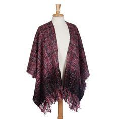 Wholesale red gray kimono fringe Acrylic One fits most