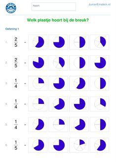 Werkblad: Welk plaatje hoort bij de breuk? [1] Math Logic Puzzles, Math Games, Math Tutorials, Homeschool Worksheets, Math Fractions, Math For Kids, Math Classroom, Summer School, Educational Activities
