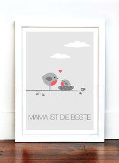 """Kunst - """"Mama ist die beste"""" Originaldruck - ein Designerstück von Drawing-Birdy bei DaWanda"""