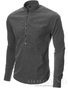 d09847a6a Mens long sleeve mao collar casual shirt charcoal (MOD1431LS)