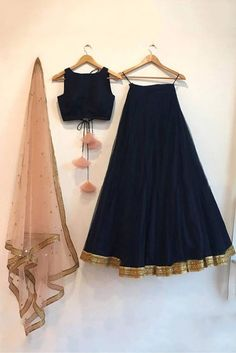 Navy blue silk lehenga choli set with a contrast embroidered peach dupatta. The lehenga choli is a c Lengha Dress, Lehenga Skirt, Sabhyasachi Lehenga, Lehenga Choli Latest, Kids Lehenga Choli, Indian Gowns Dresses, Pakistani Dresses, Indian Bridesmaid Dresses, Bridesmaid Outfit