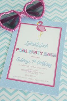 Invitations at a flamingo birthday party! See more party ideas at CatchMyParty.com!