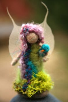 SEASONAL FAIRIES - Needle Felted Spring Forest Fairy w Bird, Original design by Borbala Arvai, Made to order. for E via Etsy.