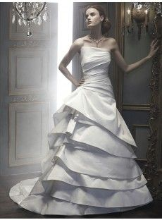 Strapless Chapel Train Taffeta A Line Wedding Dress