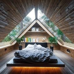 Zimmereinrichtung - If we have a loft, this is a pretty cool design. We'd also have to take into. Attic Inspiration, Interior Design Inspiration, A Frame House, Cozy Room, Roof Design, Cozy Place, Rustic Design, Cabin Design, Future House