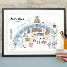 Map of Southbank, London Print - Alice Tait Shop