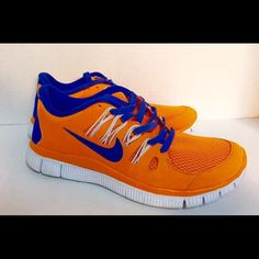 Nike free runs, size 6 Orange and royal blue nike free 5.0. The Nike free works really well with your stride and foot movement. Excellent for running and the colors are stunning. Size 6 NWOT Nike Shoes Athletic Shoes