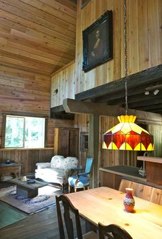 Elise Cabin with view of the creek. Cabin, Ceiling Lights, Rustic, Home Decor, Country Primitive, Decoration Home, Room Decor, Cabins, Retro