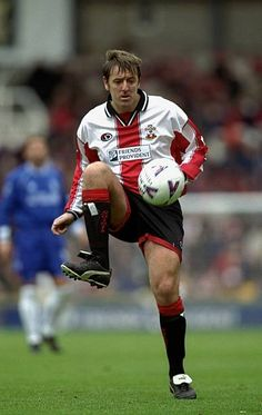 Matt Le Tissier of Southampton in action during the FA Carling Premiership match against Chelsea at The Dell in Southampton England Mandatory Credit. Fc Southampton, Southampton England, Retro Football, Old And New, Chelsea, Saints, Steven Gerrard, Running, 1990s