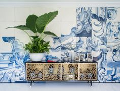 Antonio Martins Interior Design - photos of Portuguese tiles enlarged on Masonite tiles finished with a crackle glaze.
