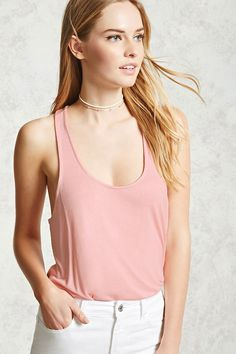 A jersey knit tank top featuring a racerback cut, and a slight high-low hem. Shop Forever, Forever 21, Knitted Tank Top, Plunging Neckline, Racerback Tank Top, Basic Tank Top, Latest Trends, Camisole Top, Tank Tops