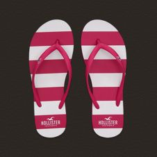 pink and white striped flip flops from Hollister