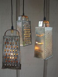 Who knew old cheese graters could make such unique lighting fixtures?