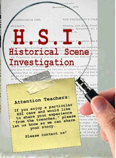 Free CSI style, students use clues from historical documents to solve cases.