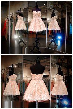 Classy Lace Prom Dresses,Orange Prom Dresses,Strapless Prom Dresses,Short