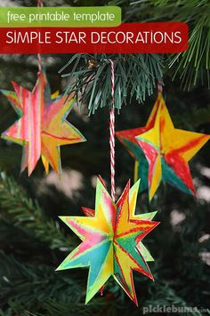 Simple Star Decorations - with free printable template and easy instructions