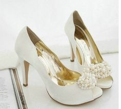 BS316 free shipping new style ivory peep toe high heel bridal wedding shoes-in Pumps from Shoes on Aliexpress.com