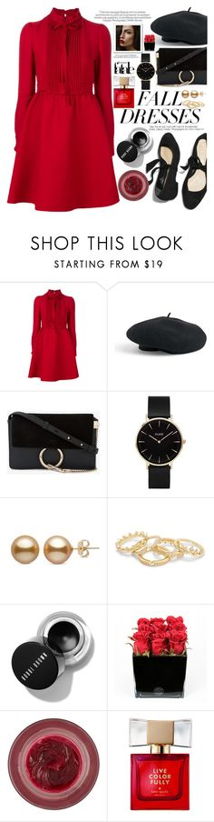 """""""// fall dresses: red & black //"""" by jessgomes99 ❤ liked on Polyvore featuring Valentino, Venus, Chloé, CLUSE, Hervé Gambs, Lipstick Queen and Kate Spade"""