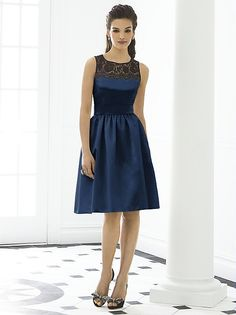 Sleeveless cocktail length matte satin dress w/ black lace yoke and delicately shirred skirt. Belt always matches dress color. Pockets at side seams of skirt. Also available full length as style 6645. Lace always black. Sizes available 00-30W, and 00-30W extra length.   http://www.dessy.com/dresses/bridesmaid/6644/