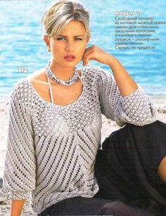 Ажурный женский пуловер
