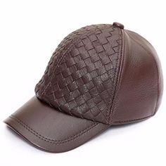 4e2ddf9f5c5a7a Men Sheepskin Leather Weave Pattern Baseball Cap Adjustable Casual Snapback  Hat
