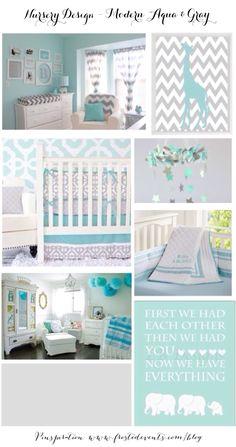 Nursery Design Modern Aqua & Gray Inspiration & Ideas www.frostedevents.com