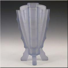 Bagley Large 1930's Art Deco Blue Glass 'Bamboo' Vase - £69.99