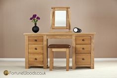 Solid oak furniture - Cotswold Double Oak Dressing Tables from Fortune Woods
