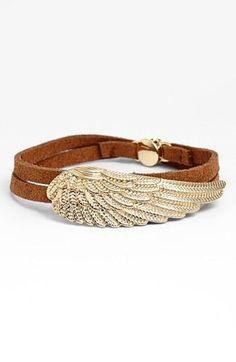 Fly away! Angel wing wrap bracelet.