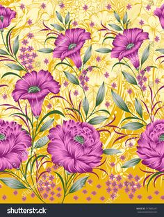 Seamless textile floral border Fabric Print Design, Textile Pattern Design, Textile Patterns, Textiles, Flower Bouquet Drawing, Flower Art, India Art, Floral Border, Border Design