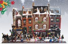 LEGO minifigures also celebrate Christmas every year, and their tradition can be traced to Victorian period. The Victorian London Christmas LEGO set w Lego Christmas Village, Lego Winter Village, Victorian London, Victorian Era, Victorian Street, Weihnachten In London, London Christmas, Christmas Ideas, Christmas Holiday
