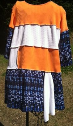 Upcycled white orange and blue blouse or top by LincolnsGranny, $29.95