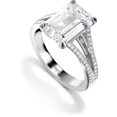 Asprey Emerald Cut Diamond Engagement Ring ($51,295) ❤ liked on Polyvore