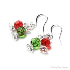 Christmas Candy Earrings, Red And Green, Swarovski Crystal, Wrapped Candy… Crystal Jewelry, Wire Jewelry, Jewelry Crafts, Beaded Jewelry, Jewlery, Christmas Jewelry, Christmas Candy, Green Christmas, Christmas Earrings