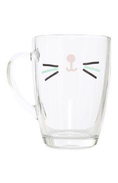 Primark - Gabriella Cat Face Glass Mug