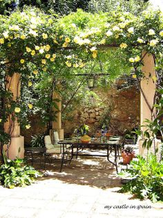 These free pergola plans will help you build that much needed structure in your backyard to give you shade, cover your hot tub, or simply define an outdoor space into something special. Building a pergola can be a simple to… Continue Reading → Small Courtyard Gardens, Small Courtyards, Outdoor Gardens, Courtyard Design, Small Gardens, Courtyard Ideas, Spanish Garden, Italian Garden, Spanish Patio