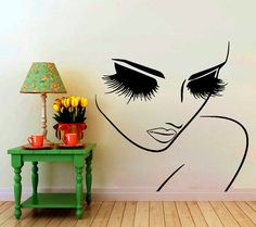 Wall Decals Hairdressing Hair Beauty Salon Decal Vinyl Sticker Woman Long Lashes Closeup Makeup Home Decor Window Decals Living Room Chu913