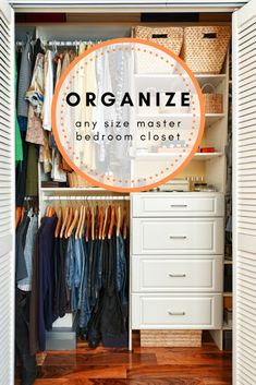 Organize Any Size Master Bedroom Closet - The Organized Mom Master Closet Layout, Master Bedroom Closet, Organized Mom, Staying Organized, Wardrobe Closet, Closet Space, Basement Closet, Building Shelves, Closet Organization