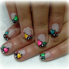 french tip nails Heart Nail Designs, Nail Polish Designs, Cute Nail Designs, Crazy Nails, Fancy Nails, Cute Nail Art, Cute Nails, Valentine Nail Art, Heart Nails