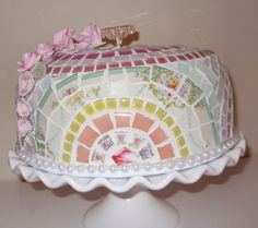 Just listed Handmade Mosaic Cake Dome Server cover w pedestal cake stand shabby cottage chic on Handmade Artists' Shop